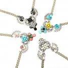 Crystal Rhinestone Flower Fan Statement Necklace Metal Chain Choker