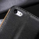 Black Genuine Real Flip Leather Wallet Cards Case For iPhone 5C