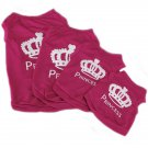 Pet Puppy Dog Princess T-shirt Rose Pink Printed Vest