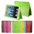 Wake Sleep Litchi Grain PU Leather Stand Folio Case For iPad Mini