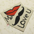 Linen Red Lip Beard Throw Pillow Case Sofa Cushion Cover Home
