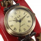 Vintage Punk Round Skull Stars Leather Quartz Bracelet Wrist Watch
