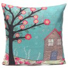 Pretty Bird and Flower Pillow Case Home Soft Decor Cushion Cover