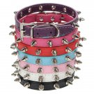 Adjustable PU Leather Dog Collar Rivet Spike Buckle Neck Strap