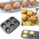 6 Holes Non-Stick Stainless Steel Muffin Cake Baking Pan Cookies Tray