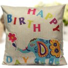 Linen Cartoon Animal Throw Pillow Case Cushion Cover Home Decorative
