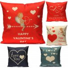 Love Couple Red Heart Throw Cotton Linen Pillow Case Cushion Cover