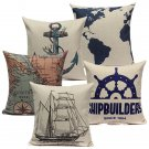 Linen Sailing Yacht Anchor Map Pillow Case Home Decor Cushion Cover