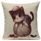 Linen Cute Cats Pillow Case Home Soft Decor Cushion Cover