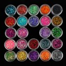 Diamond Glitter Powder Slice Nail Art Tip Decoration 24 colors