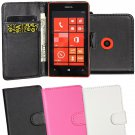 Wallet Pouch Flip Leather Skin Case Cover For Nokia Lumia 520