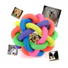 6CM Puppy Pet Toy Woven Rainbow Color Rubber Bell Ball