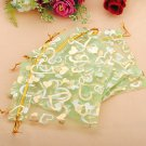 100pcs Green Heart Organza Jewelry Pouch Favor Gift Bag