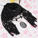 Agate Pendant Tassel Scarf Necklace Women Jewelry Autumn Winter