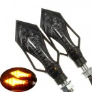 2x 9 LED Motorcycle Motorbike Turn Signal Indicators Lights Amber
