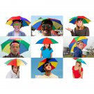 Foldable Rainbow Umbrella Sun Cap Golf Travel Camping Fishing Hunting
