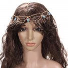 Lady Headdress Turquoise Stone Gold Headband Hair Cuff Chain
