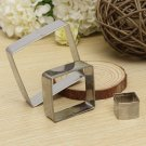 3Pcs Square Cookie Cutters Biscuit Cake Stainless Steel Mold