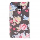 Flowers Flip PU Leather Cover Case Stand For Samsung Galaxy Note 4