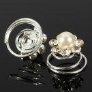 6PCS Crystal Pearl Flower Bridal Hair Twists Swirls Pins Spirals