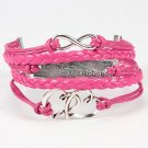 Multicolor One Direction Infinity Heart Braided Leather Bracelet