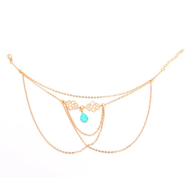 Turquoise Tassel Chain Upper Arm Cuff Armlet Armband Bracelet