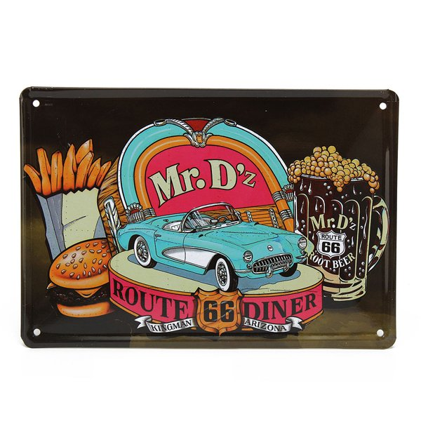 Route 66 Diner Tin Sign Vintage Metal Plaque Bar Pub Home Wall Decor