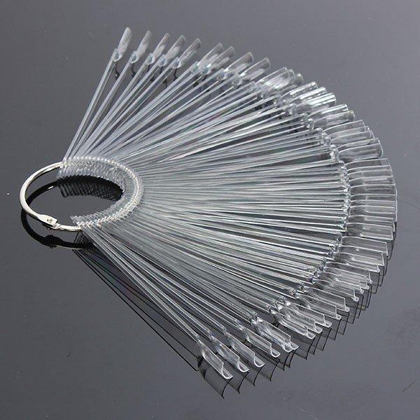 50PCS Transparent Detachable Nail Display Tool Foldable Fan Board