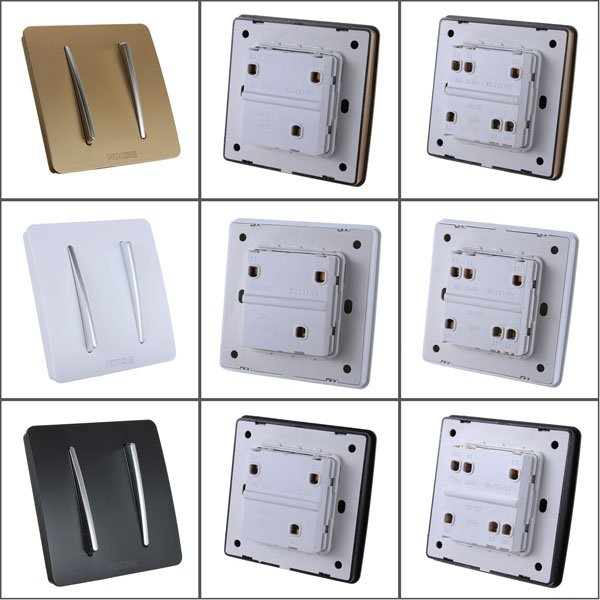 10A 220V Two 2 Gang Button Single / Double Control Wall Light Switch