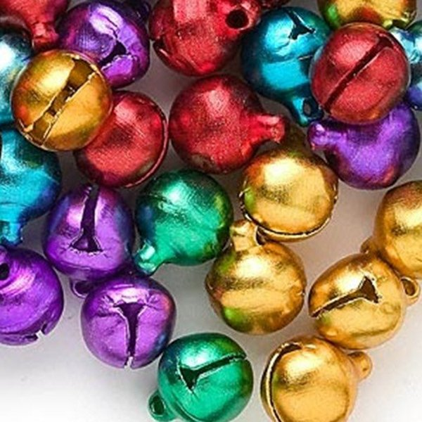 100 Pcs Mixed Color Iron Christmas Jingle Bells 8x6mm