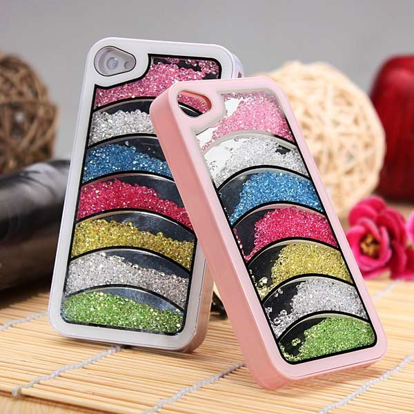 Bling Diamond Crystal Rhinestone Rainbow Hard Case For iPhone 4 4S