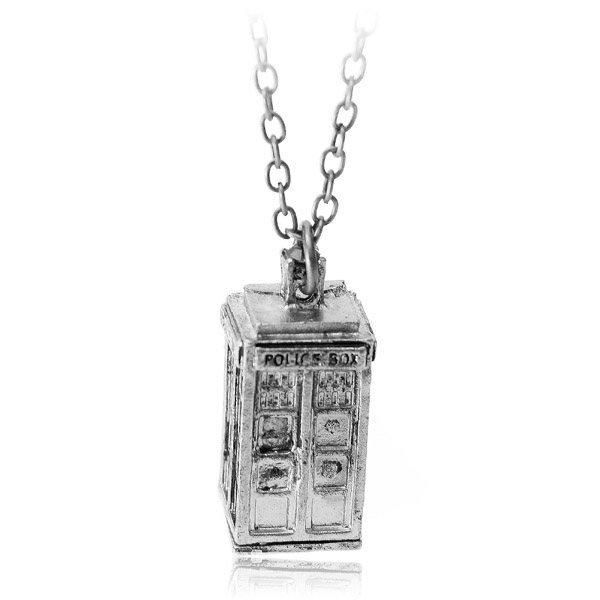 Vintage Antique Silver Bronze Police Box Chain Pendant Necklace