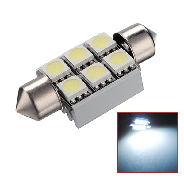 36mm 6SMD 5050 Canbus Error Free Car LED Dome Bulb DC 12V 6000-6500K