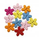 100pcs Colorful Flower Flatback Wooden Buttons DIY Sewing Craft