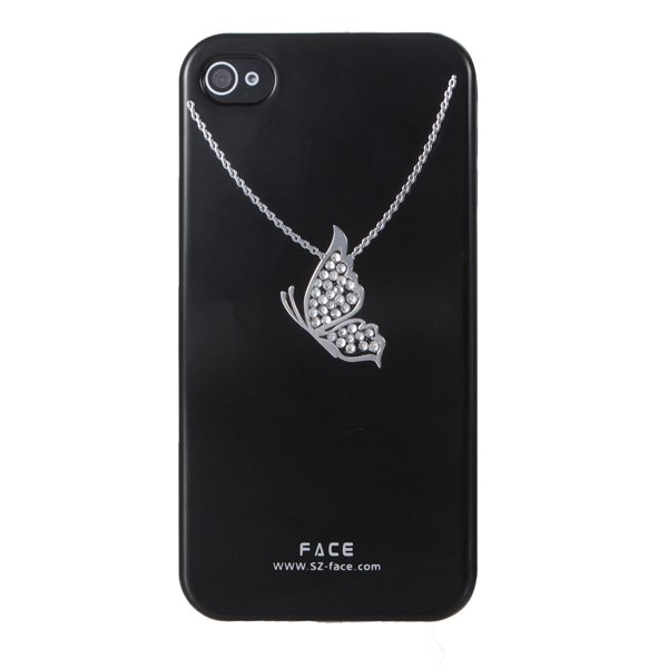 Diamond Necklace Butterfly Design Crystal Case For iPhone 4s
