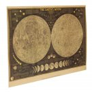 Large Vintage Moon Map Kraft Paper Poster Home Wall Decor Painting