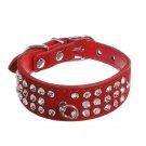 Pet Puppy Dog Suede Leather 3 Rows Diamante Crystal Rhinestone Collar