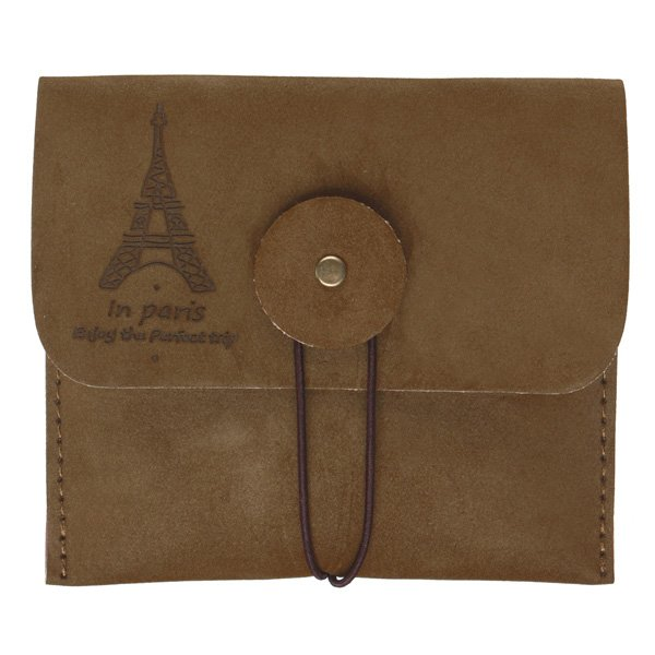 Retro Suede Leather Eiffel Tower Wallet Purse