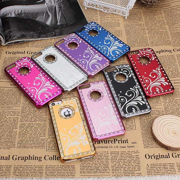 Brushed Aluminum Diamond Chrome Bling Steel Hard Case For iPhone 5C