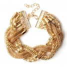 Gold Twisted Alloy Rope Thick Chain Chunky Bracelet For Women