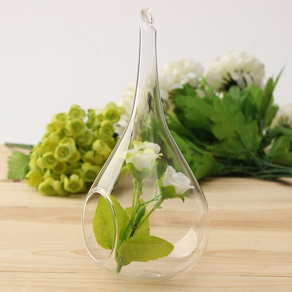 Water Drop Shape Hanging Glass Vase Hydroponic Flowerpot Garden Decor