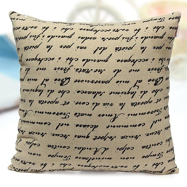 Cotton Linen French Letters Pillow Case Home Office Car Cushion