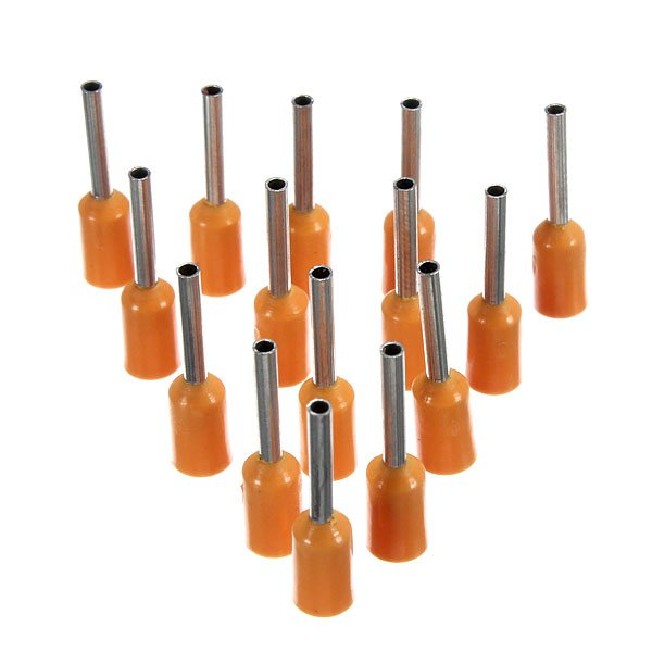 100Pcs AWG 22 Orange Wire Copper Crimp Insulated Cord Pin End Terminal