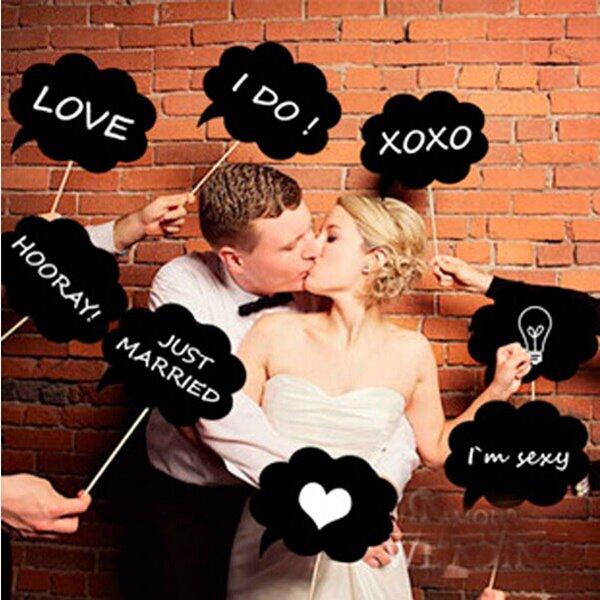 10Pcs Photo Booth Prop Wedding Party Black Card Board Chalkboard