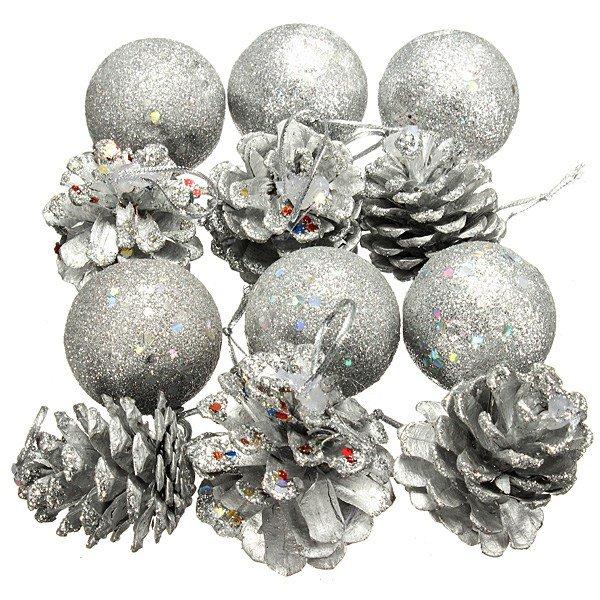 12 Pcs Christmas Pine Cone Ball Christmas Tree Ornament Decor