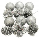 12 Pcs Christmas Pine Cone Ball Christmas Tree Ornament Decor