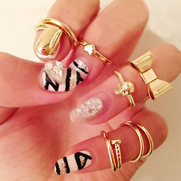7pcs Gold Alloy Heart Bowknot Skull Joint Ring Nail Ring Jewelry