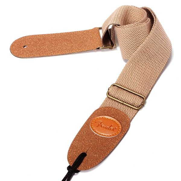BLACK STRAP with Leather Ends for FENDER ACOUSTIC OR ELECTRIC GUITA