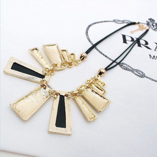 Crystal Irregular Geometry Pendant Statement Necklace Leather Chain