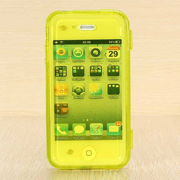 Transparent TPU Soft Gel Wrap Up Side Flip Full Case For iPhone 4s